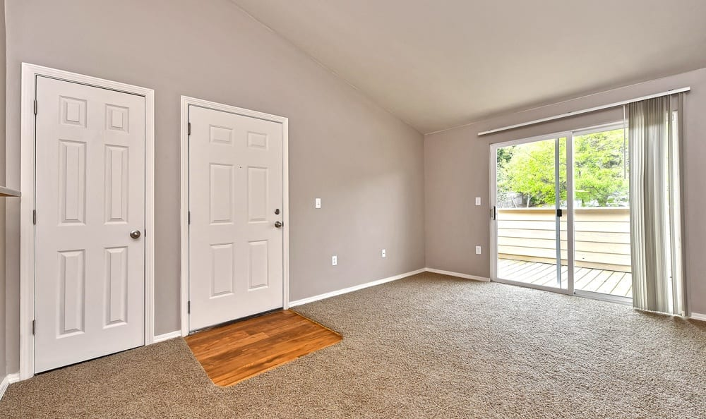 Entrance and living room at apartments in Tigard, Oregon