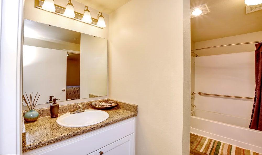 Enjoy a beautiful bathroom at Brittany Lane Apartments