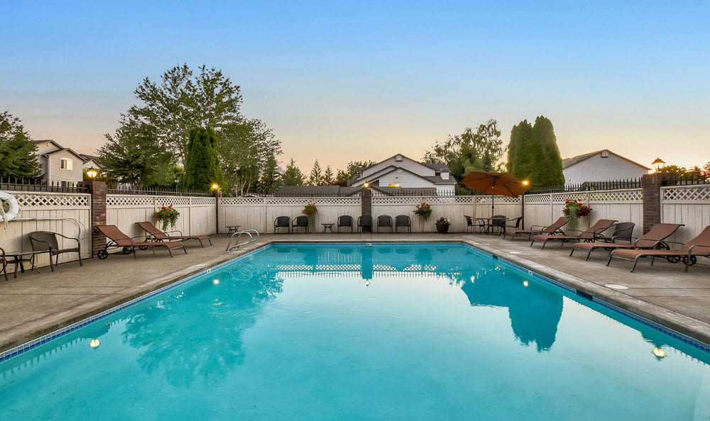 Beautiful Swimming Pool At Brittany Lane Apartments In Lacey WA