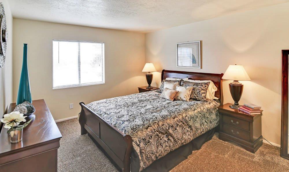Beautiful bedroom at apartments in Layton, Utah