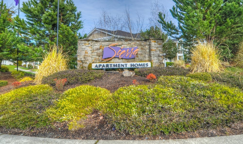 Monument Sign of Apartments in Puyallup