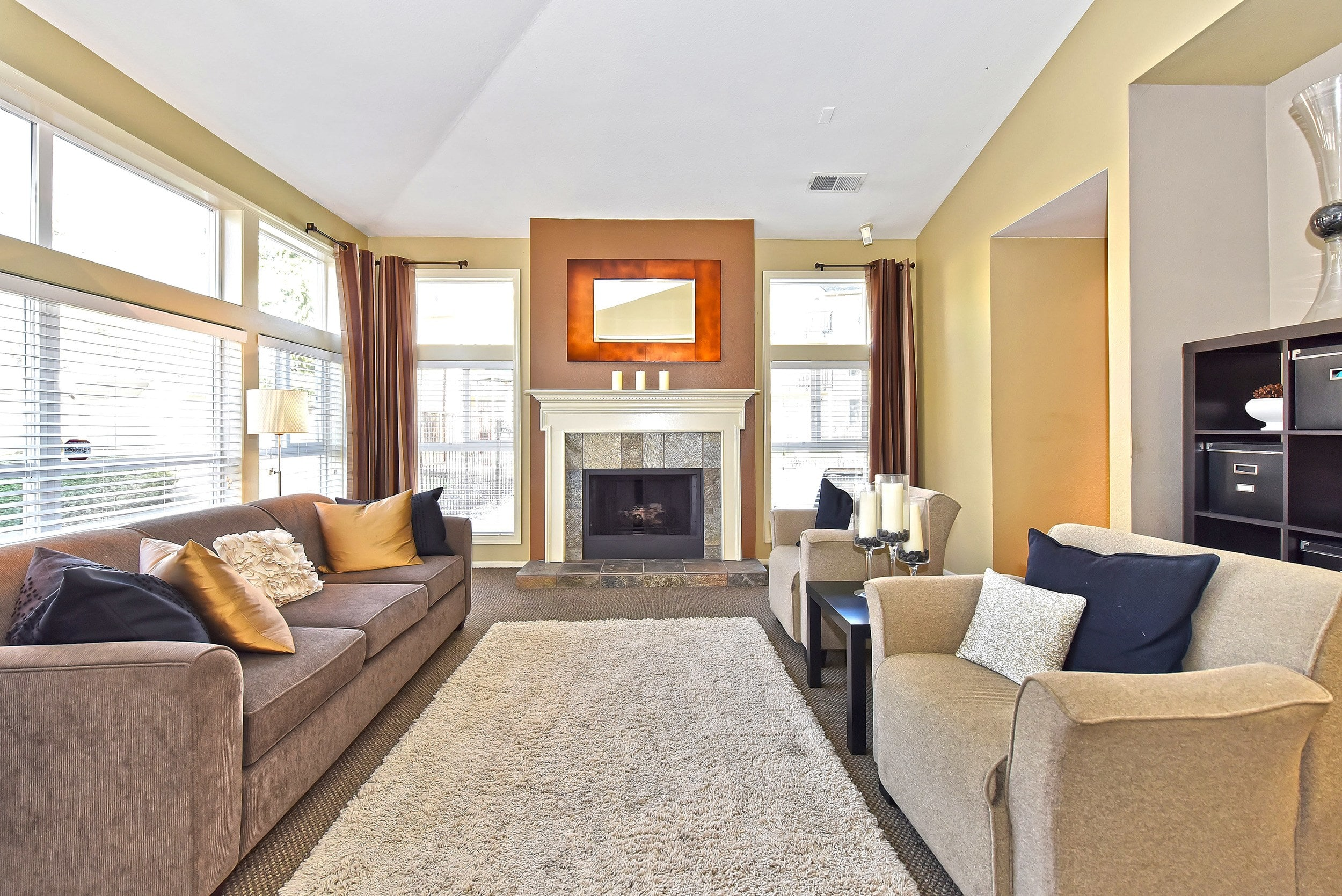 Living Room and fireplace At Preserve at Sunnyside Apartments In Clackamas OR