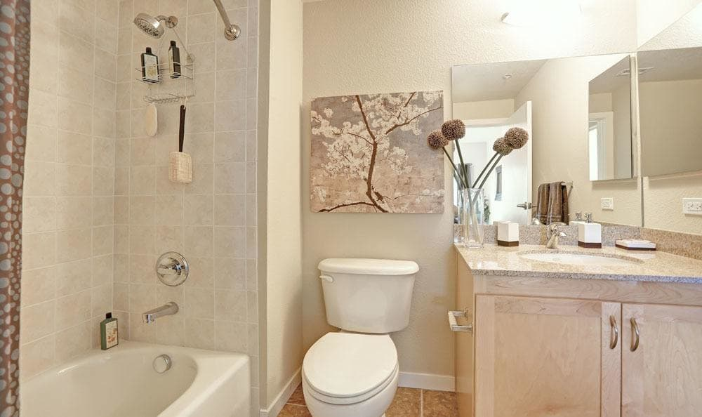 Spacious bathroom at Downtown Belmar Apartments in Lakewood, Colorado