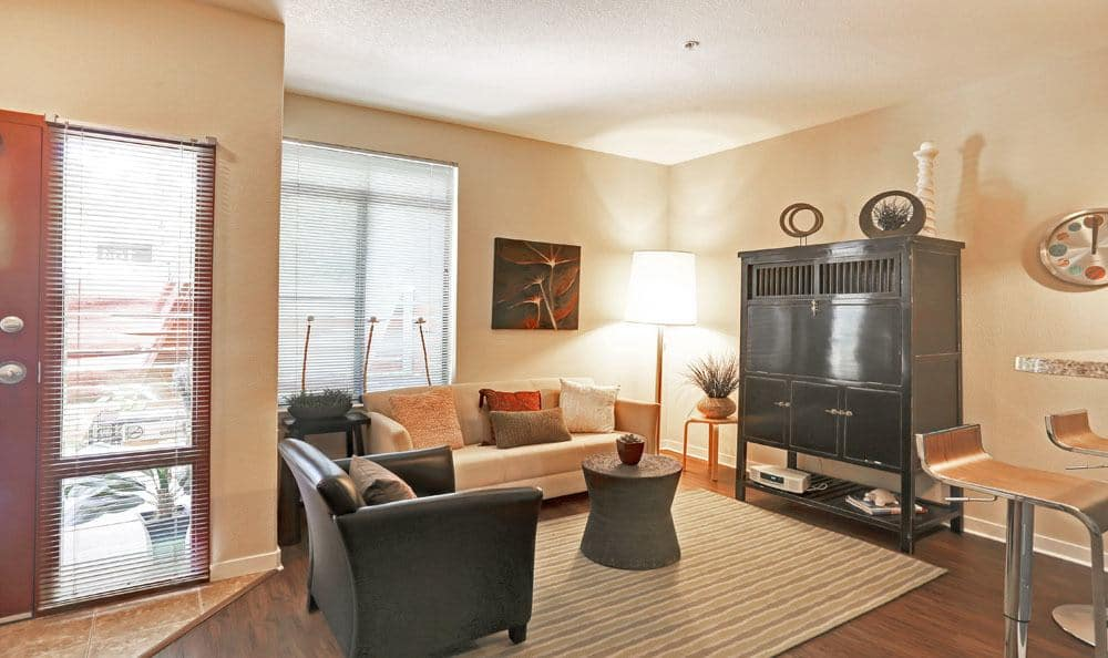 Beautiful living room at Downtown Belmar Apartments in Lakewood, Colorado