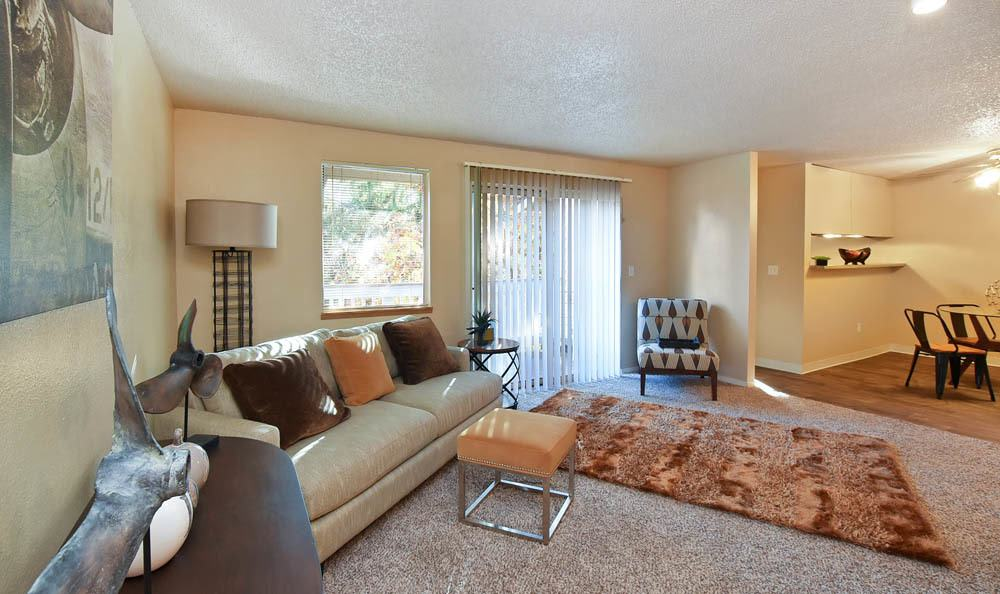 Spacious living room at The Park at Cooper Point Apartments in Olympia, Washington