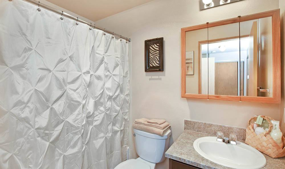 Beautiful bathroom at The Park at Cooper Point Apartments in Olympia, Washington