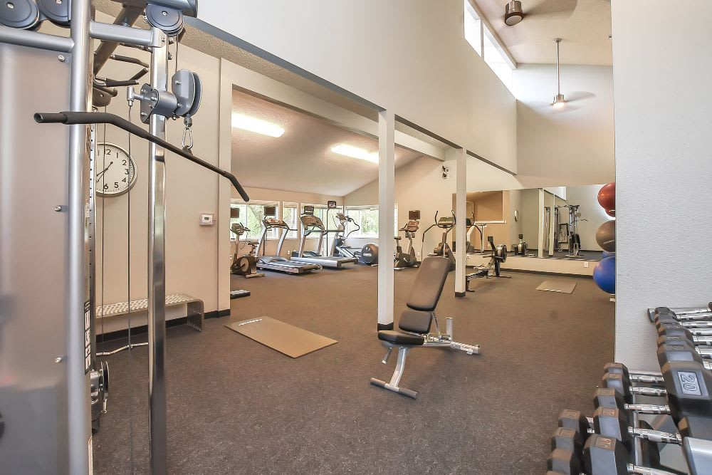 Fitness center at Lakeside Landing Apartments
