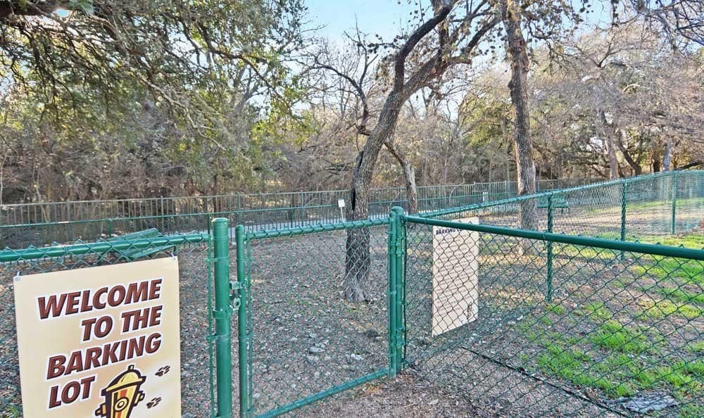 Dog park at apartments in San Antonio, Texas