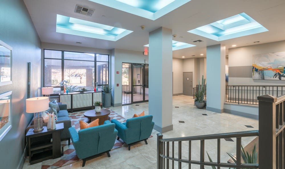 Clubhouse lobby at The Enclave at 1550 Apartments in San Antonio, Texas