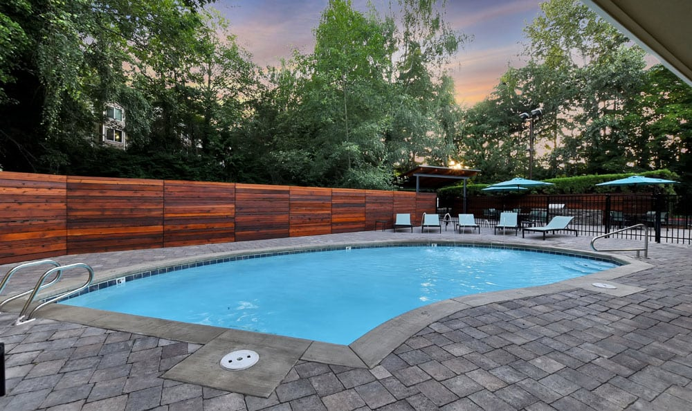 Beautiful swimming pool at Maple Glen Apartments in Mountlake Terrace, Washington