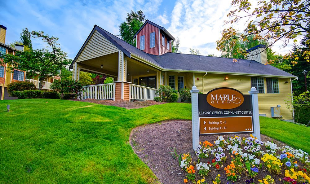 Welcome Sign At Maple Glen Apartments In Mountlake Terrace WA
