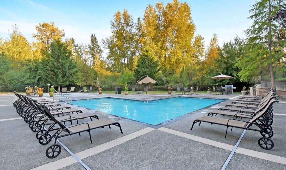 Swimming Pool At Aravia Apartments In Tacoma WA