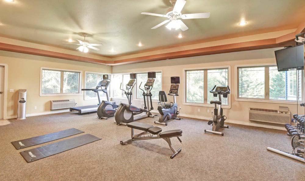 Fitness center at Aravia Apartments in Tacoma, Washington