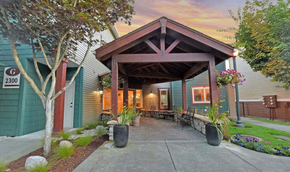 Outside patio At Aravia Apartments In Tacoma WA