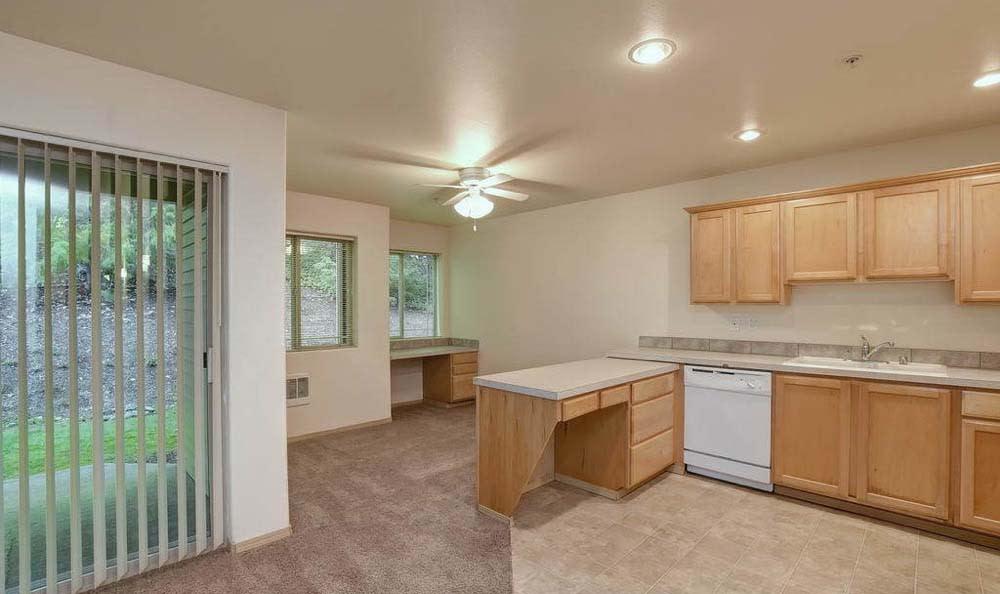 Spacious kitchen at Aravia Apartments in Tacoma, Washington