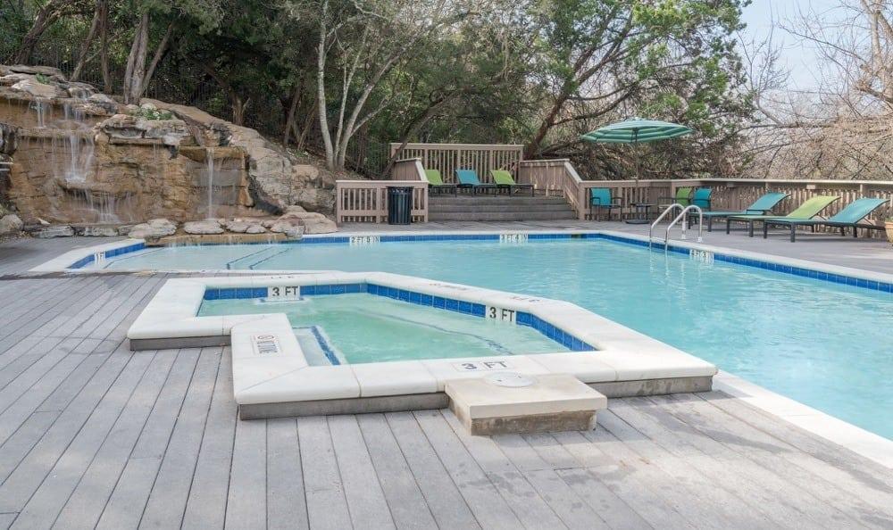 Beautiful pool At Falls on Bull Creek Apartments In Austin TX