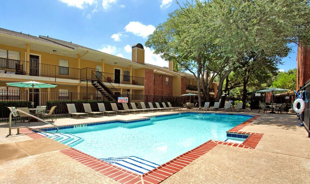 Chesapeake Apartments offers a beautiful swimming pool in Austin, Texas