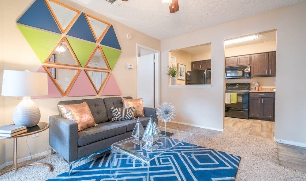 Northstar Apartments offers a beautiful living room in Austin, Texas