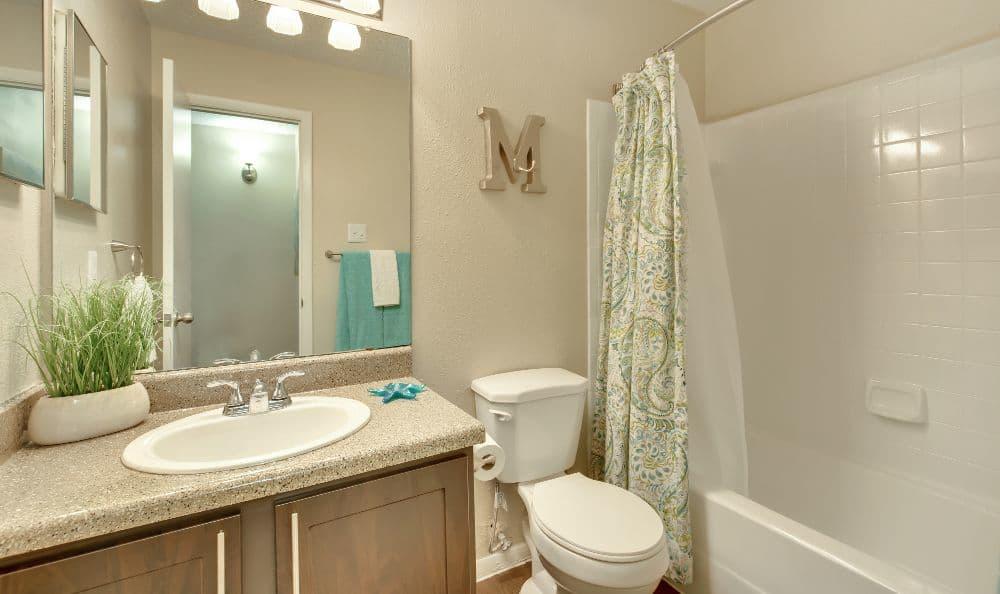 Bathroom of an apartment at Bradford Pointe in Austin, TX