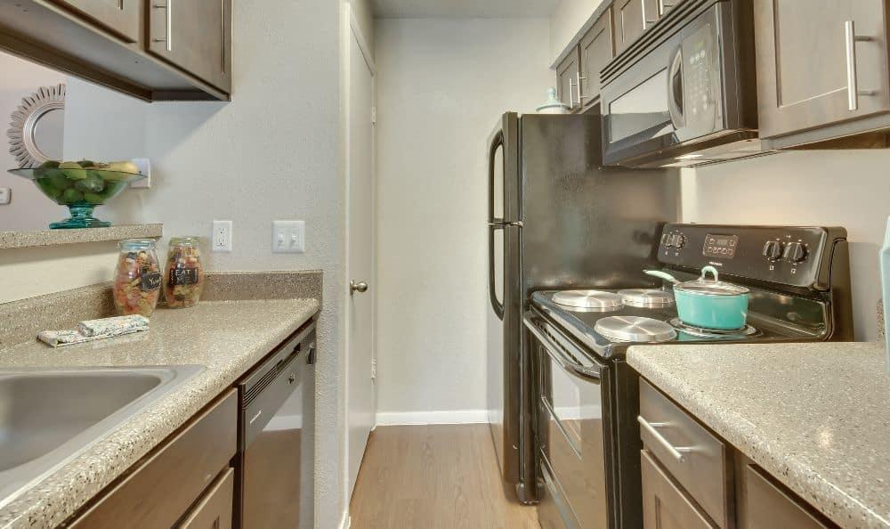 Kitchen of an apartment at Bradford Pointe in Austin, TX