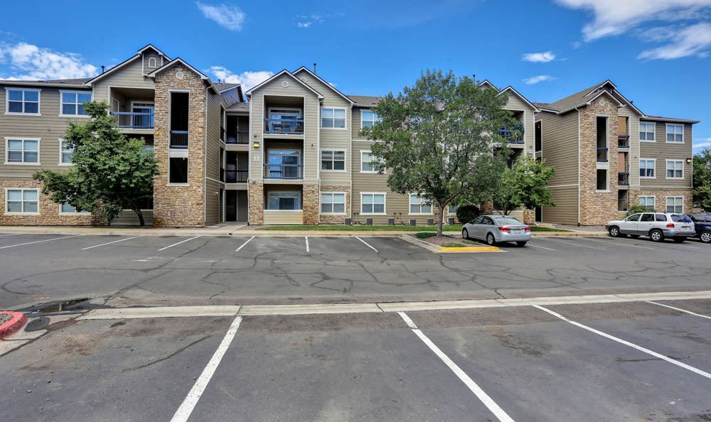 Exterior view of parking at Reserve at South Creek in Englewood, CO