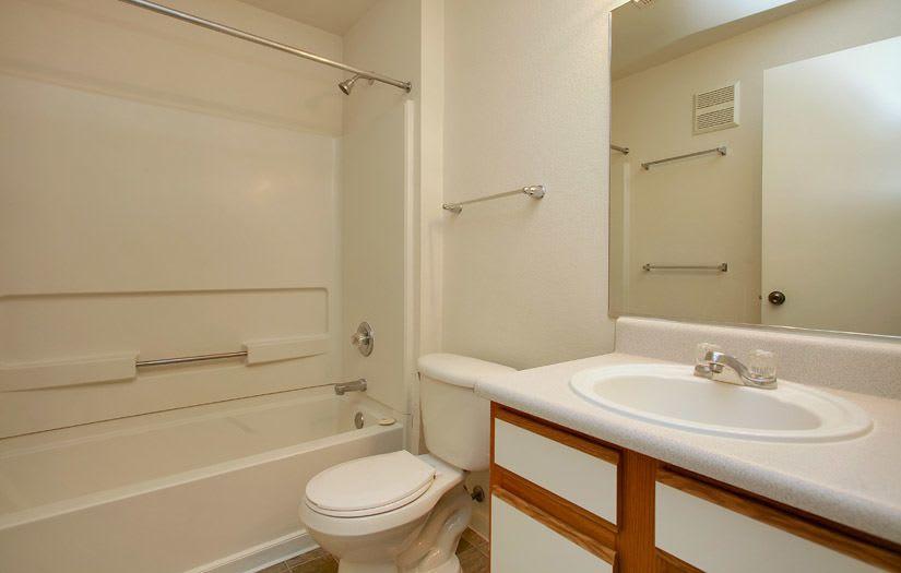 Spacious bathroom at apartments in Englewood, Colorado