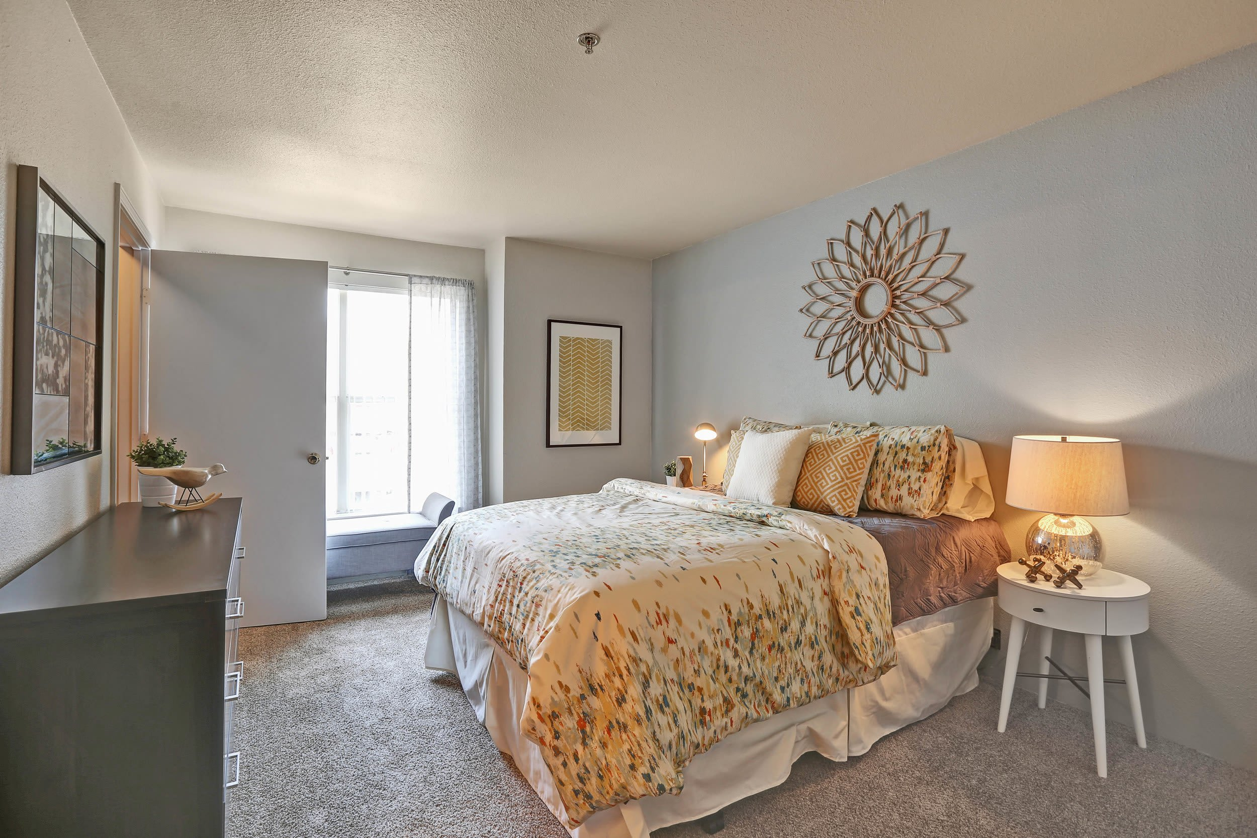 Beautiful bedroom at The Pines at Castle Rock Apartments in Castle Rock, Colorado