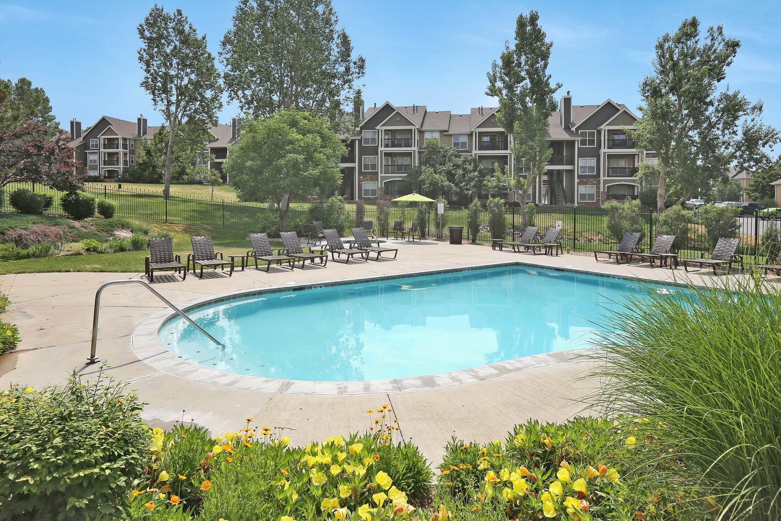Swimming pool at The Pines at Castle Rock Apartments in Castle Rock, Colorado