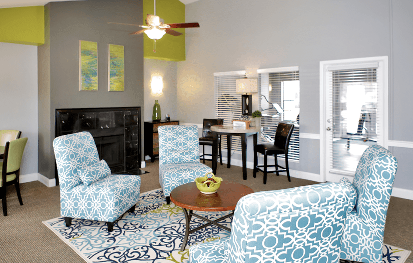 Clubhouse interior at Promontory Point Apartments in Austin, TX