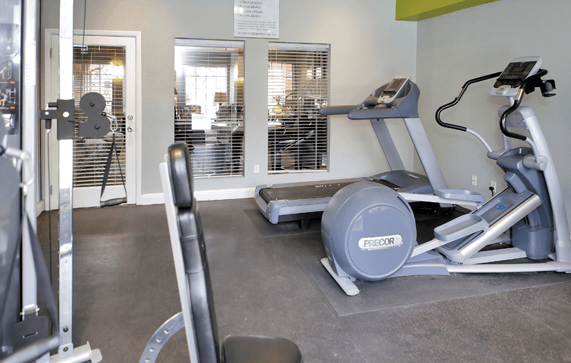 Fitness center at Promontory Point Apartments in Austin, TX