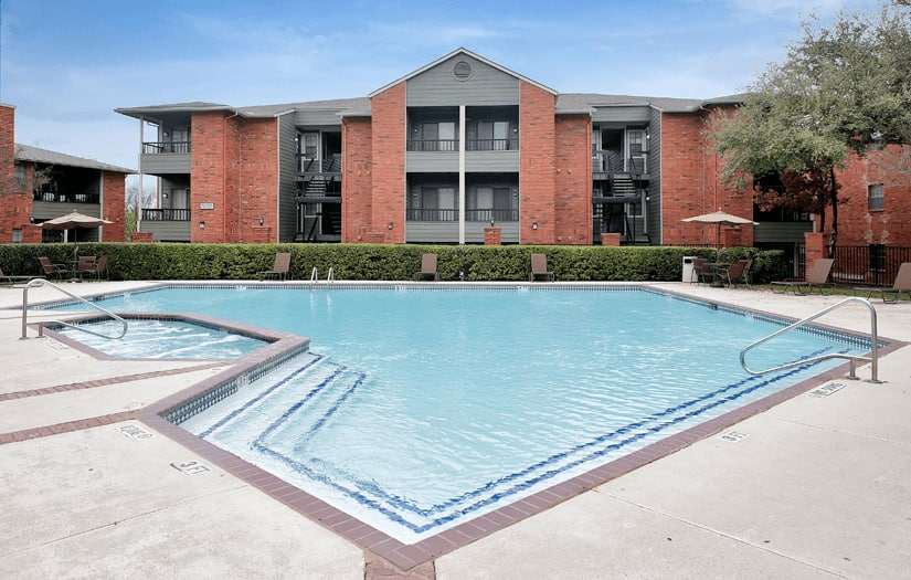 Beautiful community pool at Promontory Point Apartments in Austin, TX