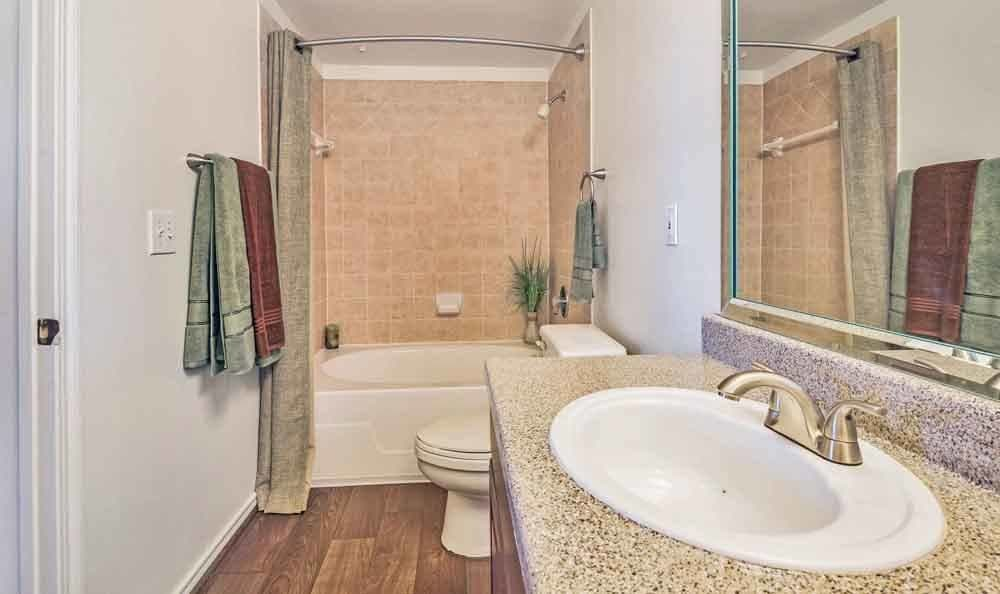 Beautiful bathroom at Ravinia Apartments in Spring, Texas
