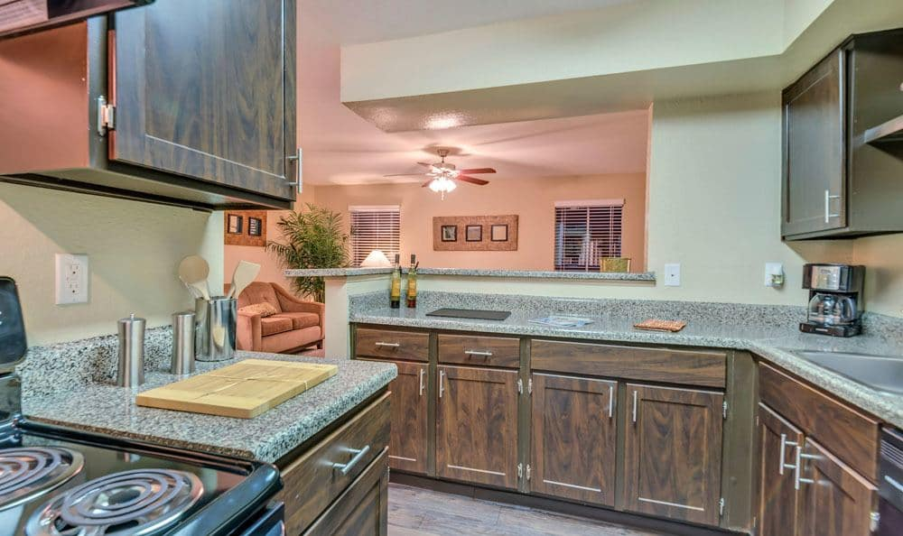 The Point at Cypress Woods Apartments offers a spacious kitchen in Cypress, Texas
