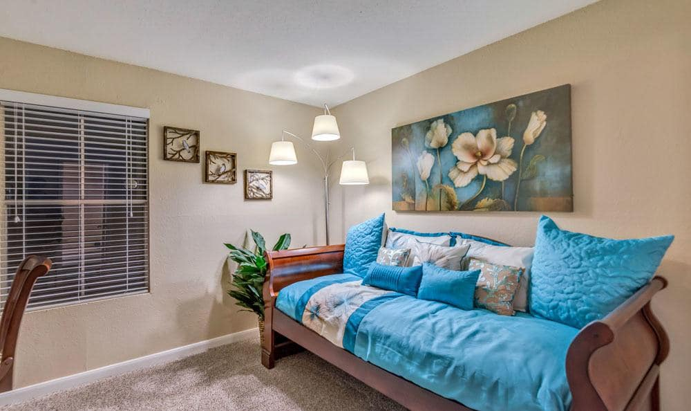 Living room at The Point at Cypress Woods Apartments in Cypress, Texas