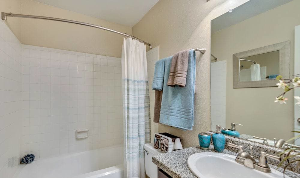 The Point at Cypress Woods Apartments offers a beautiful bathroom in Cypress, Texas