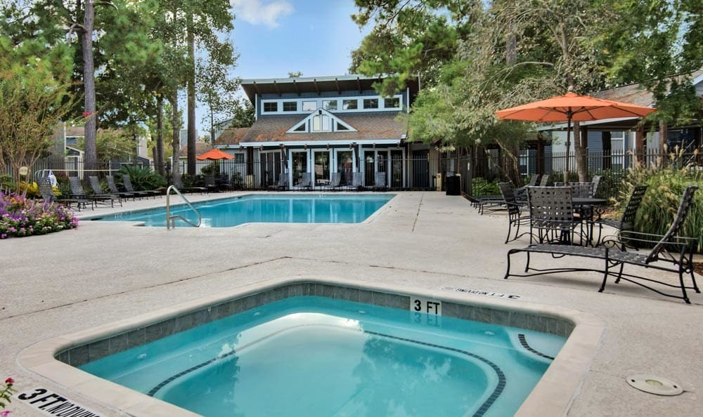 Swimming pool at The Point at Cypress Woods Apartments in Cypress, Texas