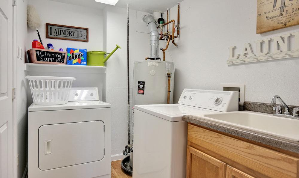 Washer and dryer at Vistas at Stony Creek Apartments in Littleton, Colorado