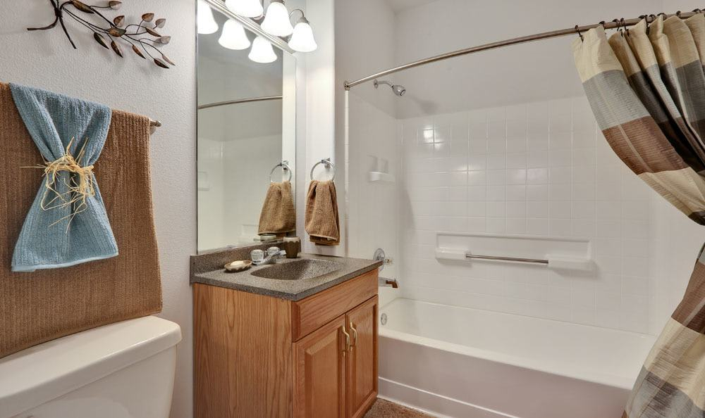 Lovely model bathroom at Vistas at Stony Creek Apartments in Littleton, Colorado