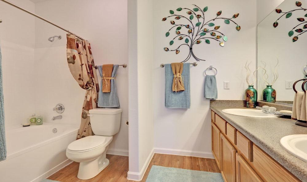 Beautiful model bathroom at Vistas at Stony Creek Apartments in Littleton, Colorado