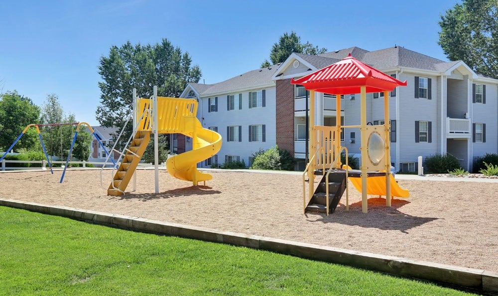 Well-kept playground at Vistas at Stony Creek Apartments in Littleton, Colorado