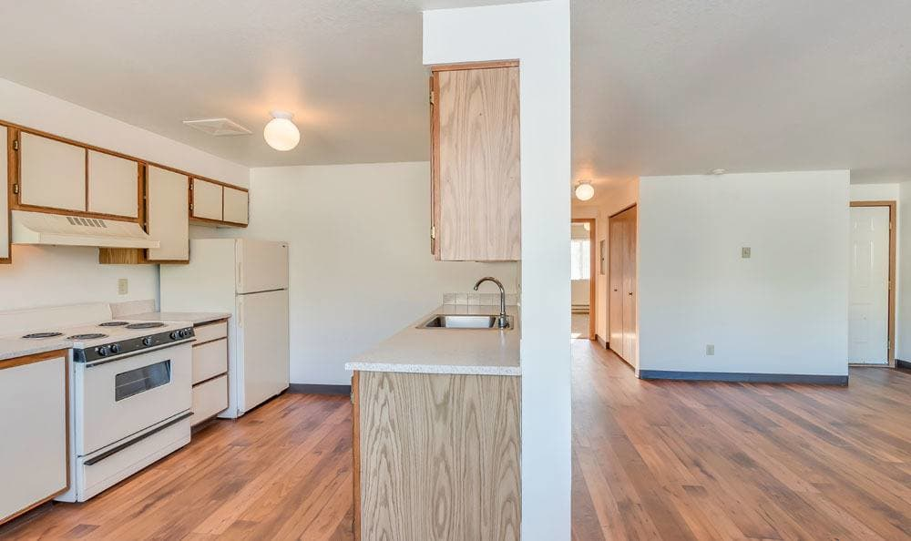 Kitchen at apartments in Olympia, Washington