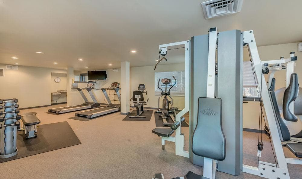 Fitness center at Courtside Apartments in Olympia, Washington