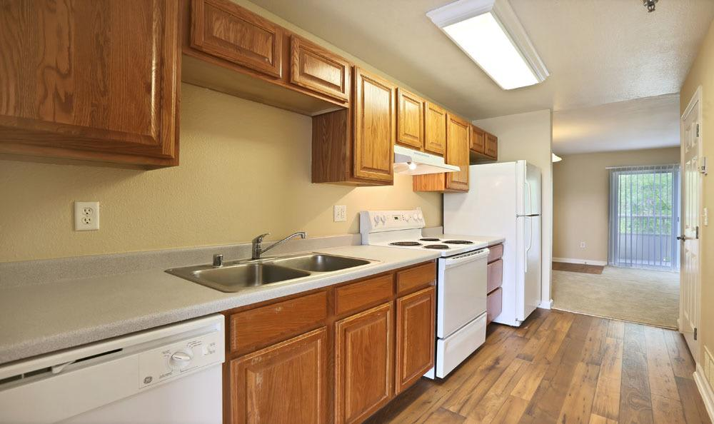 Modern kitchen at Belle Creek Apartments in Henderson, Colorado