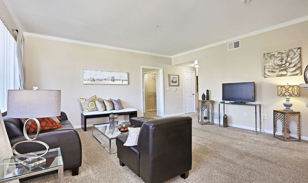 Spacious living room at Dove Valley Apartments in Englewood, Colorado