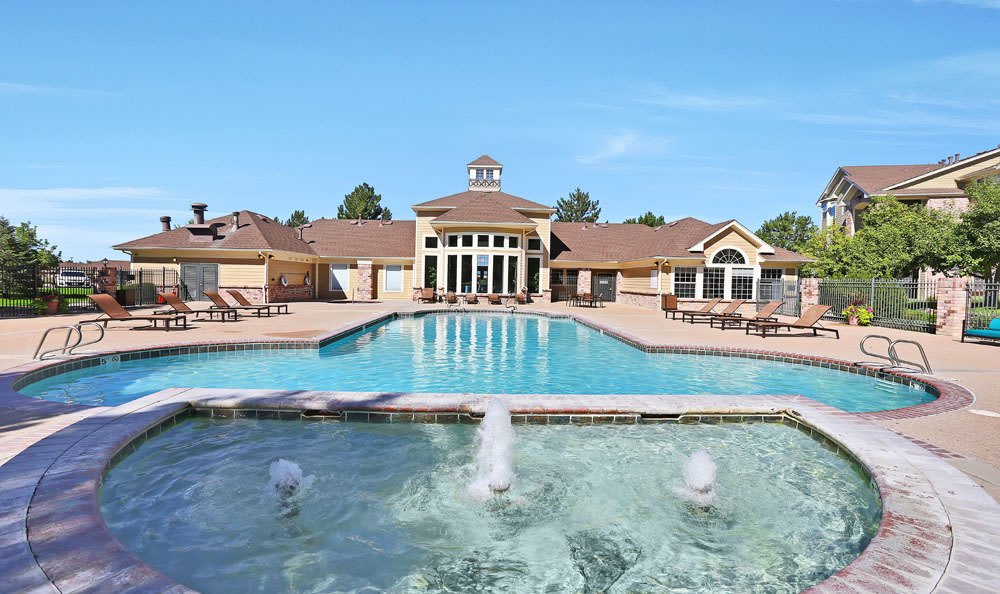 The pool and patio area at Dove Valley Apartments