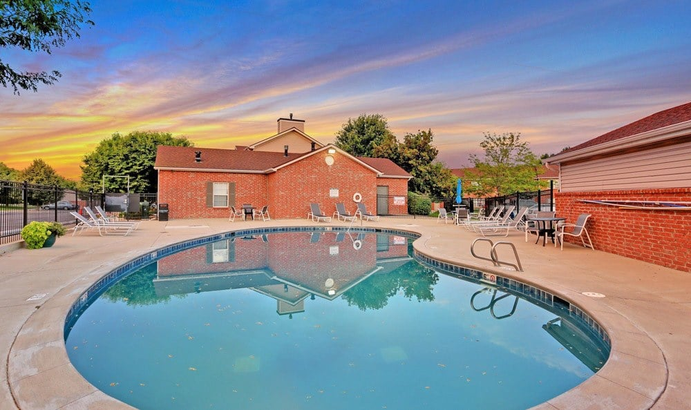 Beautiful swimming pool at Country Ranch Apartments in Fort Collins, Colorado