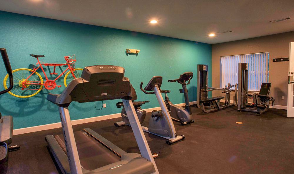 Modern fitness center at Waterford Place Apartments in Loveland, Colorado