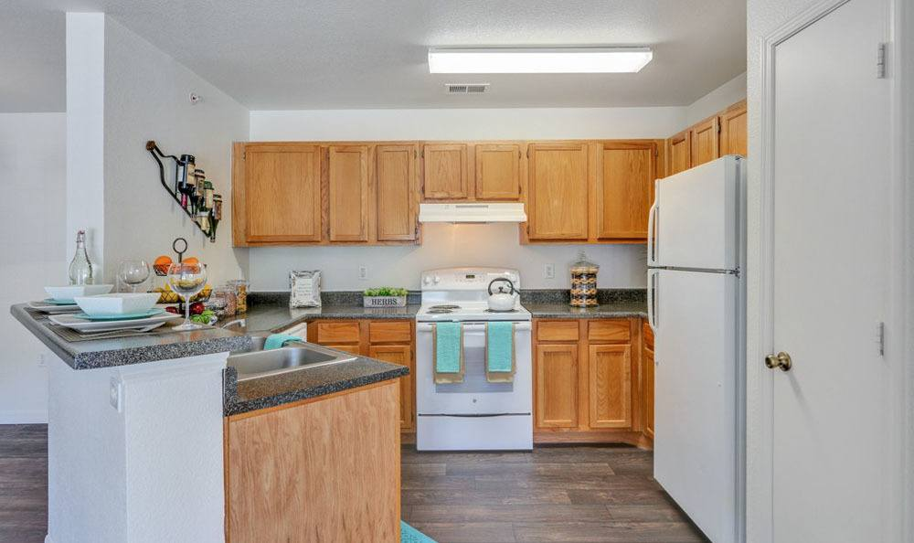 Buffalo Run Apartments offers a beautiful kitchen in Fort Collins, Colorado