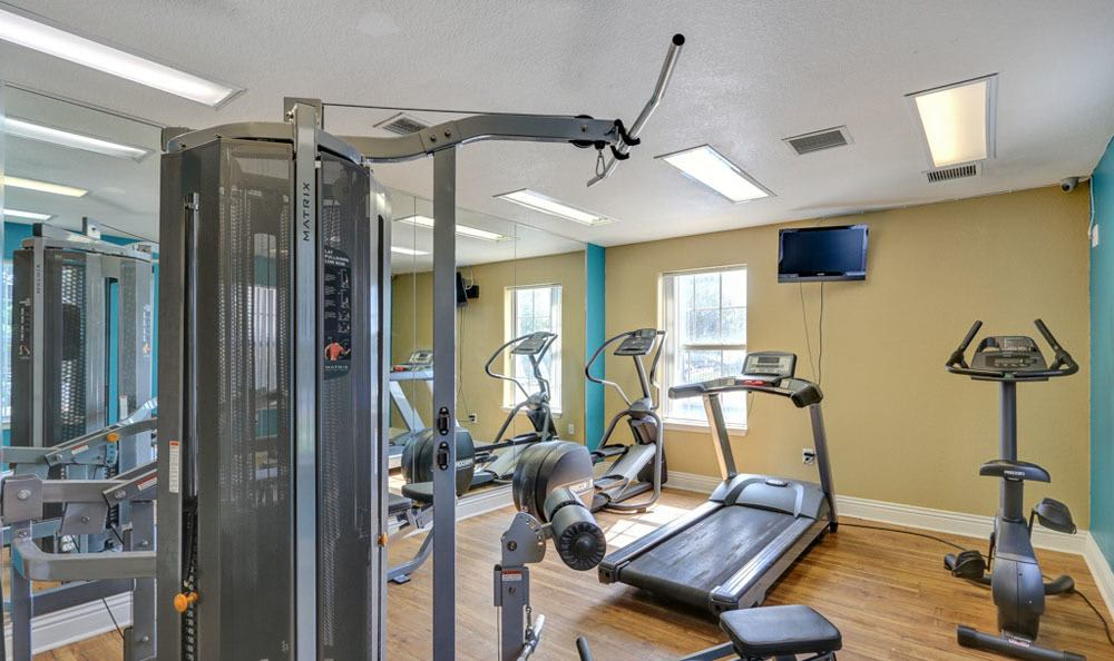 Modern fitness center at apartments in Fort Collins, Colorado