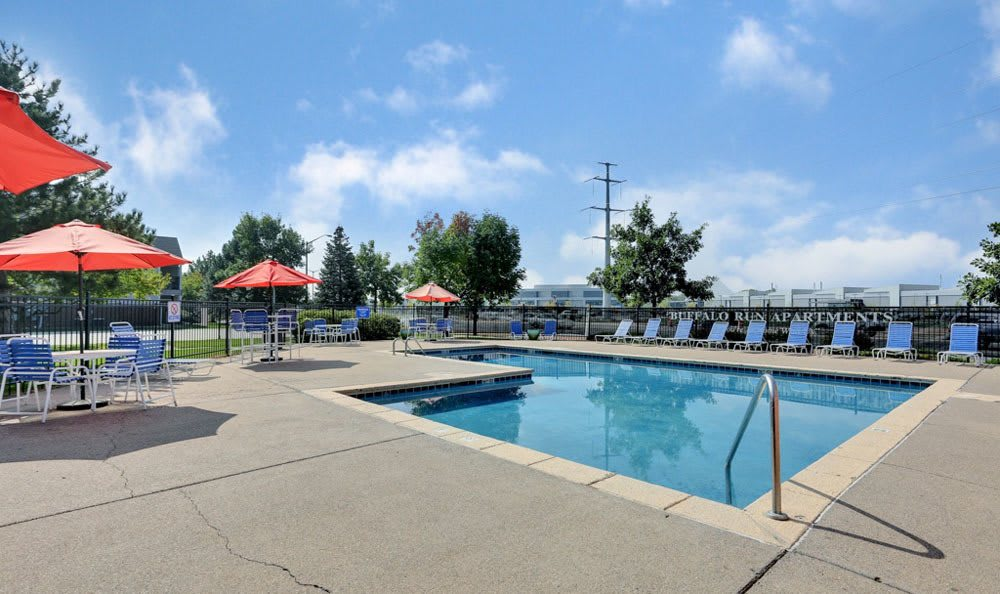 Buffalo Run Apartments offers a swimming pool in Fort Collins, Colorado